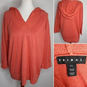 Tribal knit sweater with hood size L